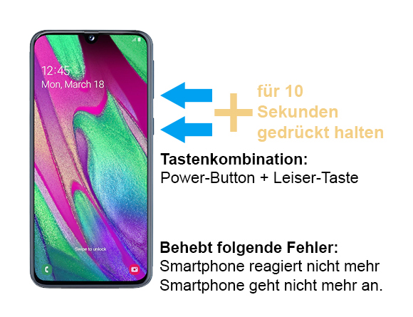 Samsung Galaxy A40 geht nicht mehr an - Tastenkombination
