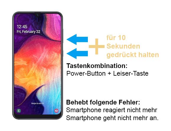Samsung Galaxy A50 geht nicht mehr an - Tastenkombination