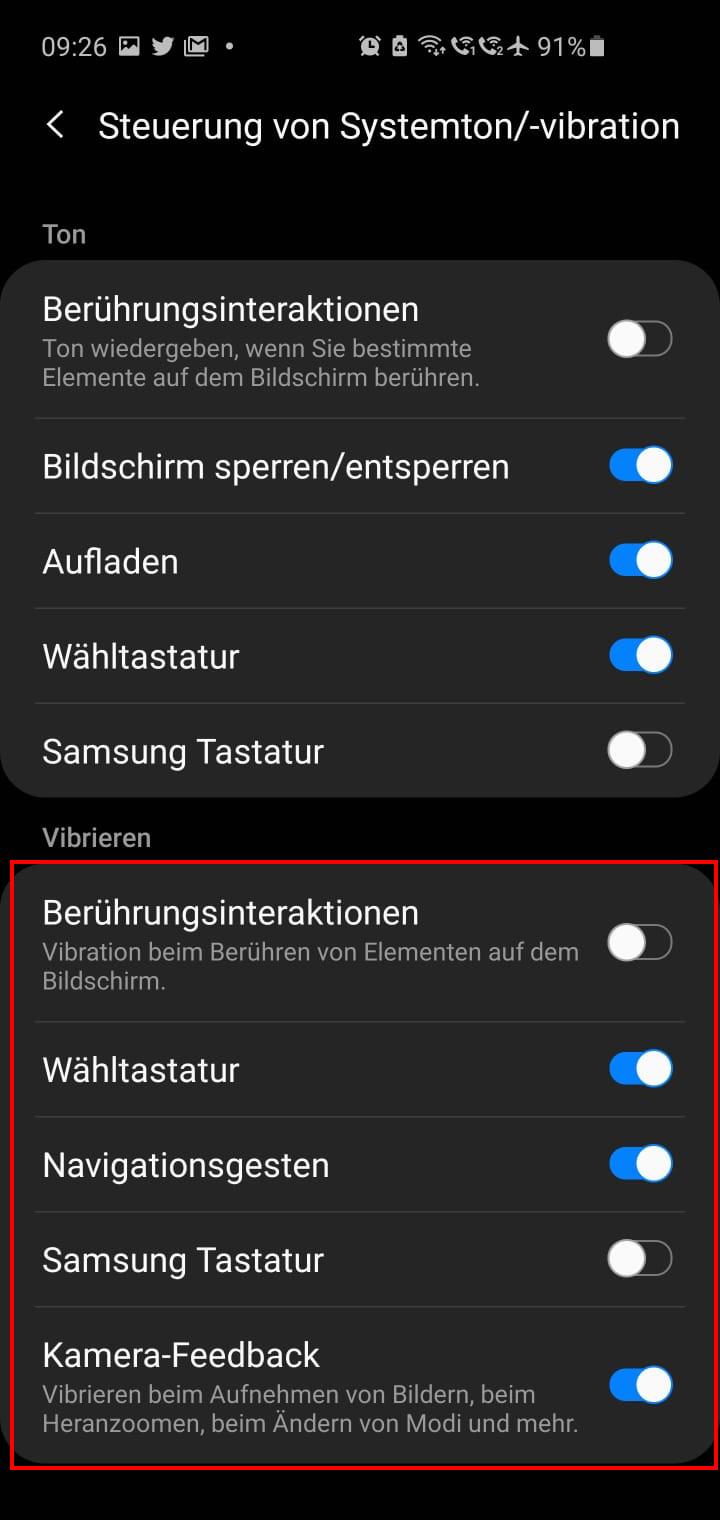 Vibration Tastatur - Navigationsgesten deaktivieren ausschalten