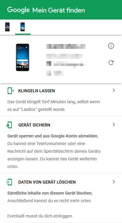 Samsung Galaxy Smartphone wiederfinden