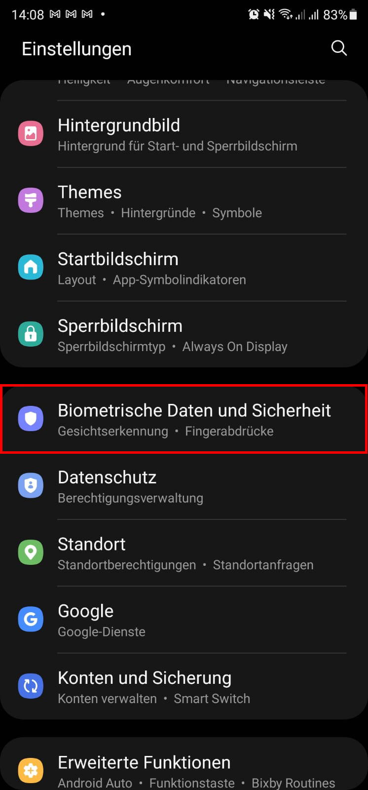 Biometrische Daten und Sicherheit Samsung Galaxy