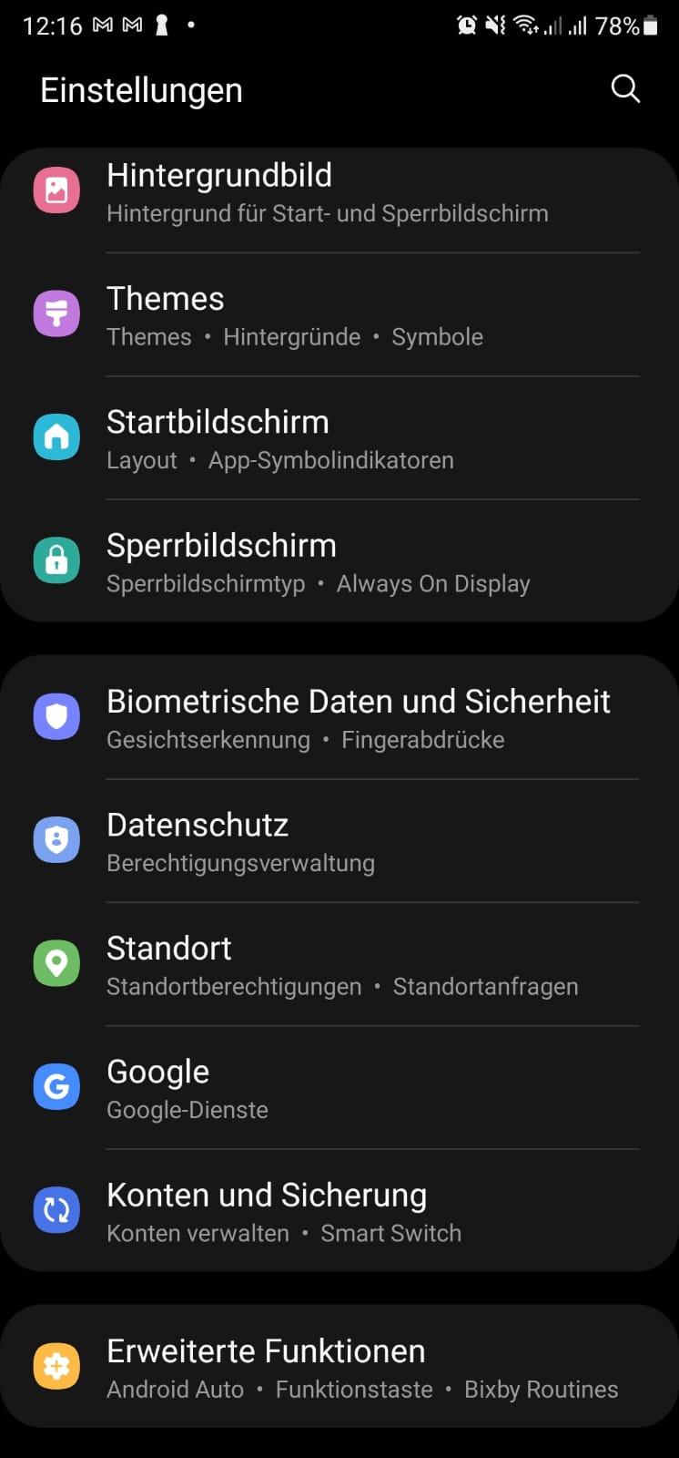 Samsung Galaxy Einstellungen