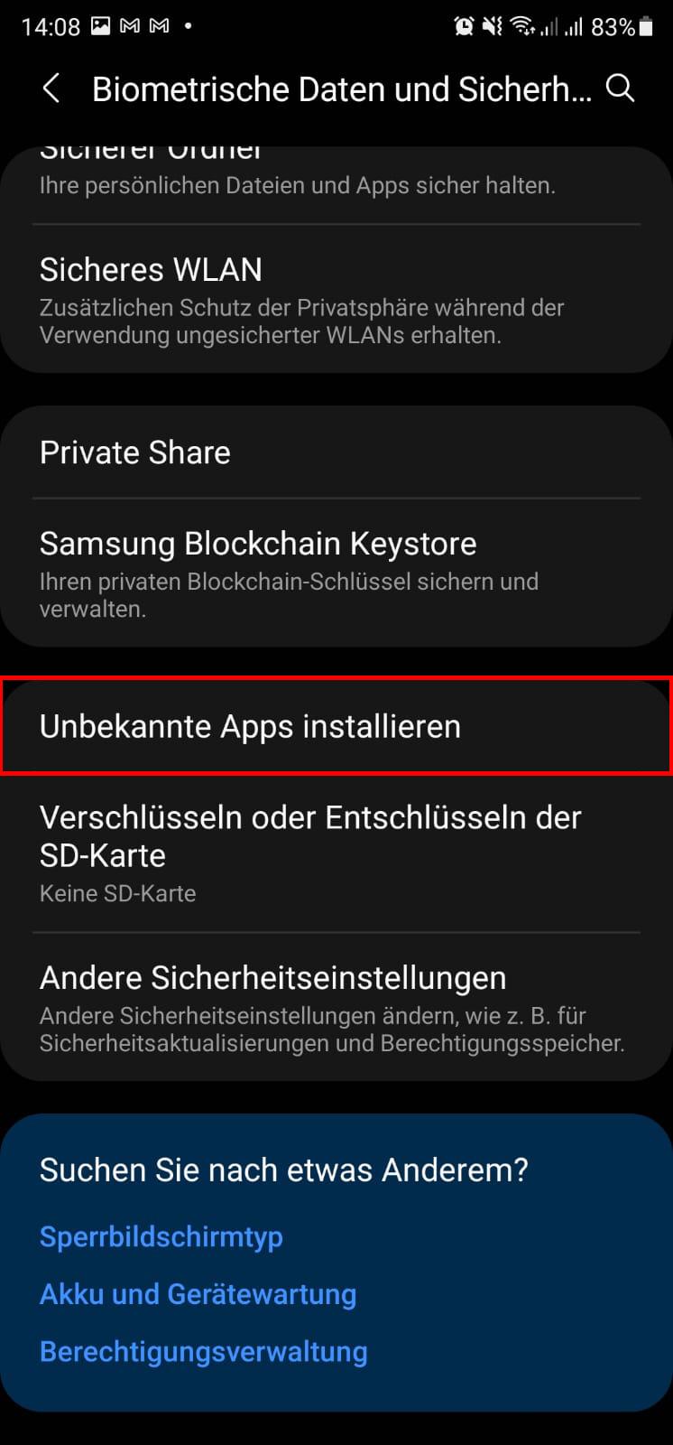 Samsung Galaxy Unbekannte Apps installieren