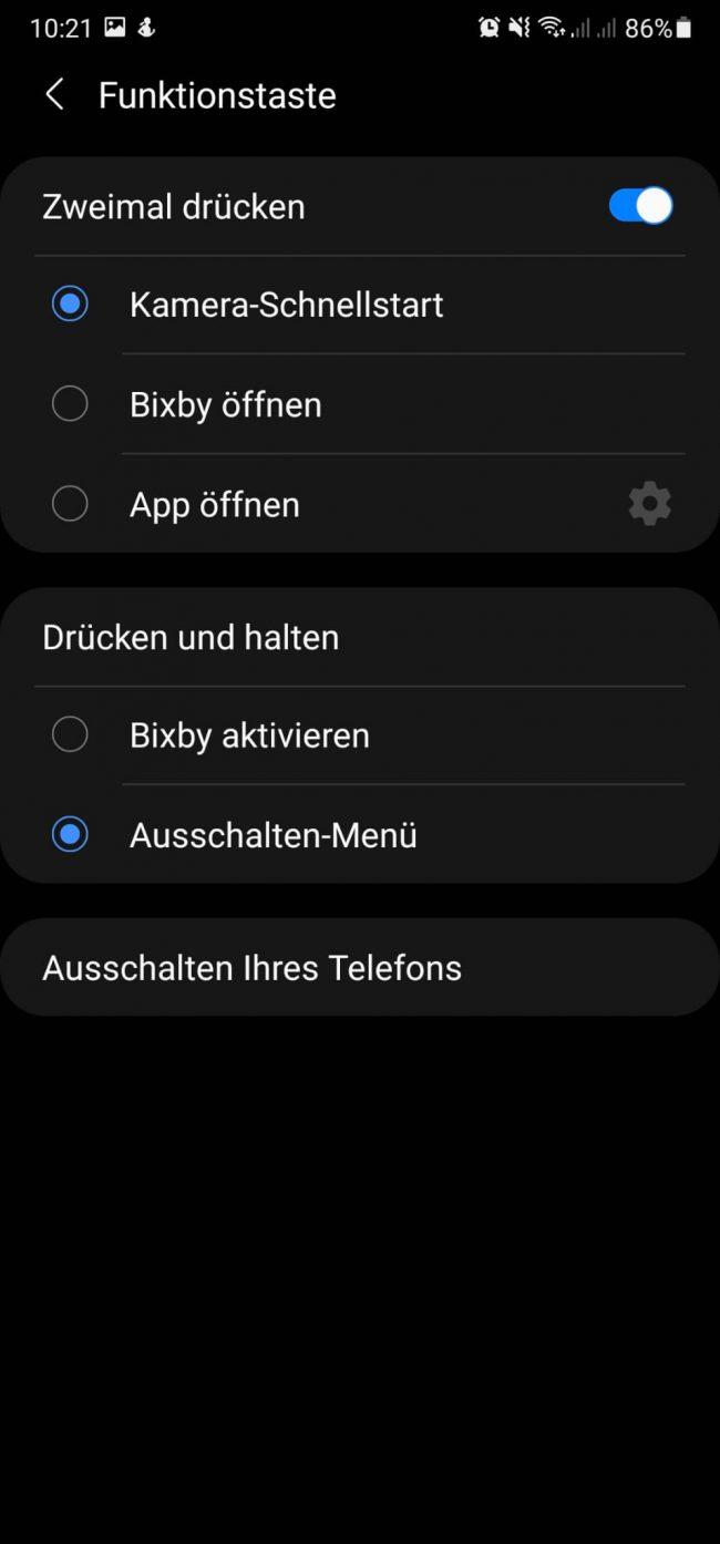 Samsung Galaxy ausschalten - Funktionstaste deaktivieren